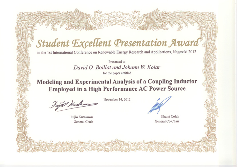 Conference Presentation Awards – Power Electronic Systems