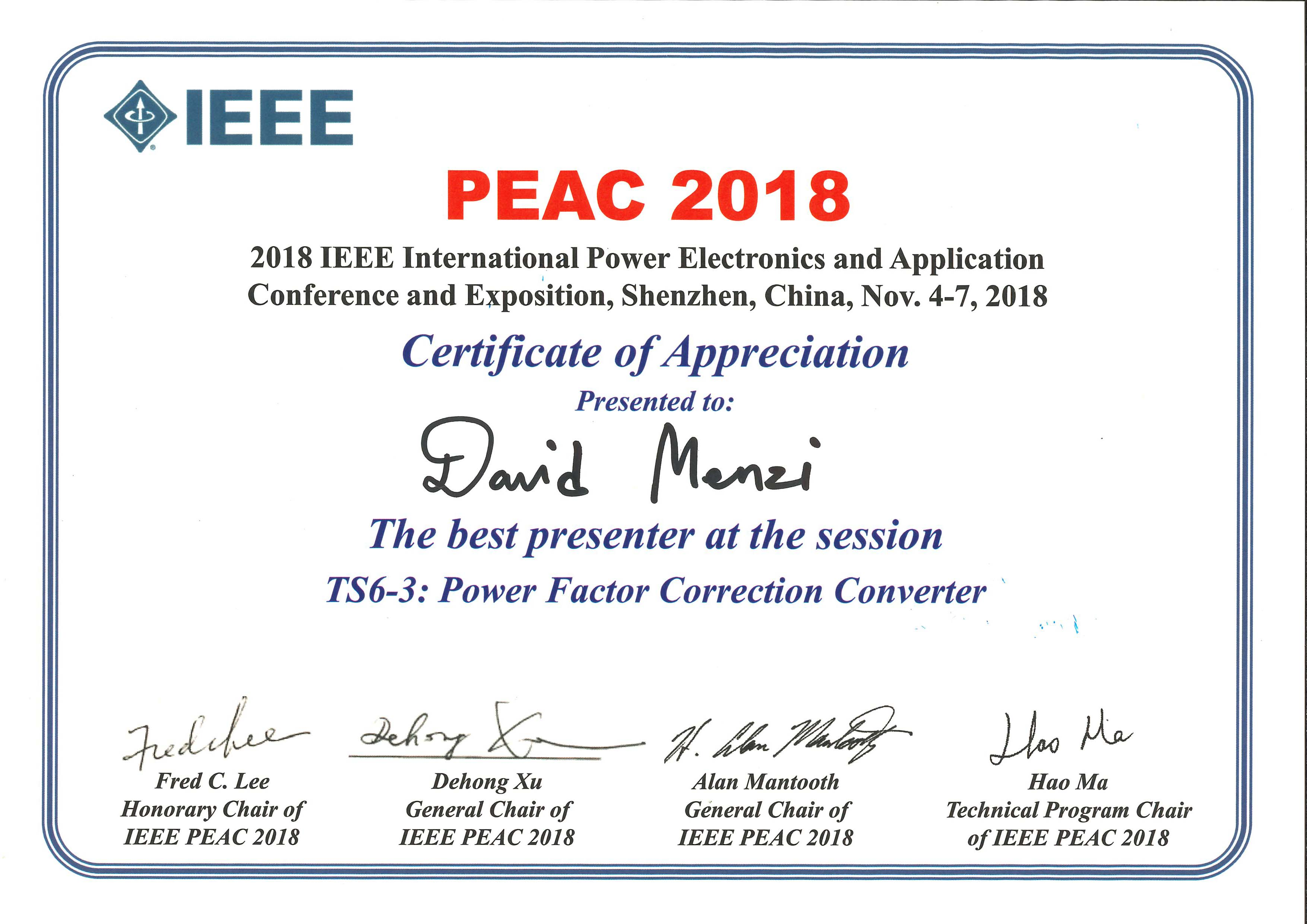 Conference Presentation Awards – Power Electronic Systems Laboratory