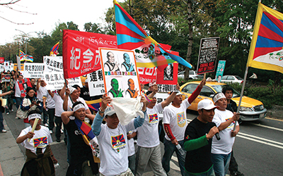 Tibetan exiles march through Taipei, Taiwan