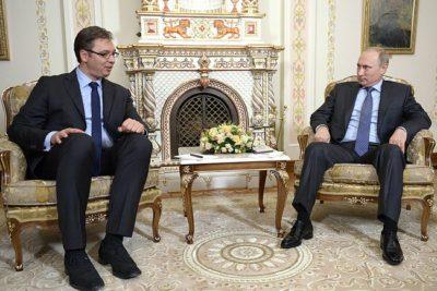 Serbian Prime Minister Aleksandar Vučić with Russian President Vladimir Putin