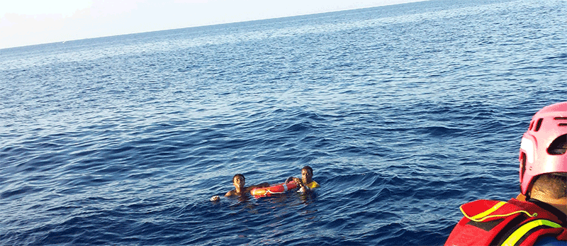 Survivors of the sinking of a smugglers' ship off Lampedusa