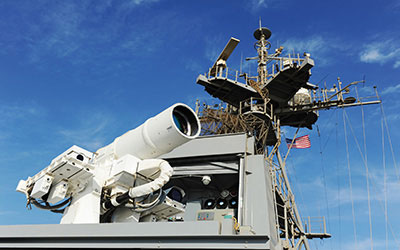 AN/SEQ-3 laser system on board USS Ponce.