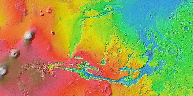 The gigantic gorge system Noctis Labyrinthus and Valles Marineris were created exclusively through the erosive force of immense lava flows.