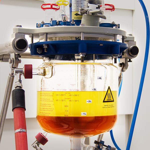 Biodiesel (light liquid) and glycerol (dark liquid)