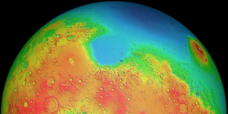 Mars has two differently shaped hemispheres: the lowlands of the northern hemisphere and the volcanic highlands (yellow to red regions) of the southern hemisphere. (Credits: MOLA Science Team)