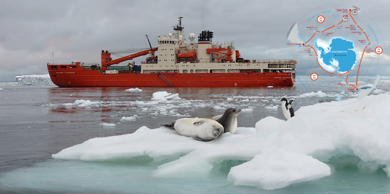 The icebreaker at the Mount Siple volcano. (Image: Brieuc Delbot / ACE Expedition)
