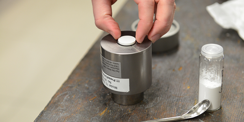 A ceramic sample compacted at room temperature in an ETH Zurich lab.