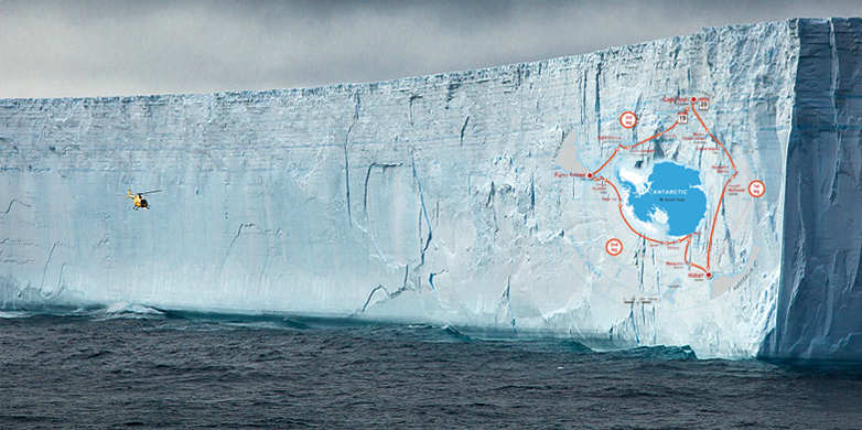 ACE helicopter at a melting iceberg in the Southern Ocean (Image: Mariusz Potocki / ACE expedition)