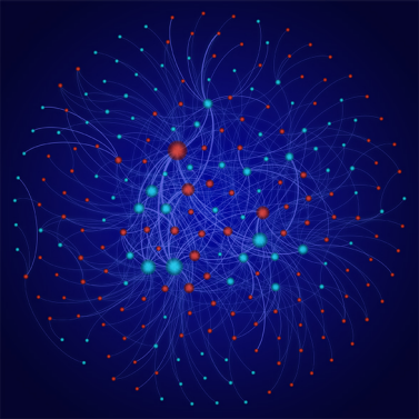 The researchers evaluated the experimental data published in the scientific literature using a network analysis. This analysis reveals which types of nanoparticles (blue) have been studied under which environmental conditions (red). (Visualisations: Thomas Kast)