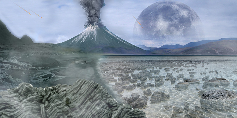 Artistic representation of the Earth in the Archean. Stromatolites, the first signs of life, are present in the shallow water. Graphic: Tim Bertelink, CC BY-SA 4.0, https://commons.wikimedia.org