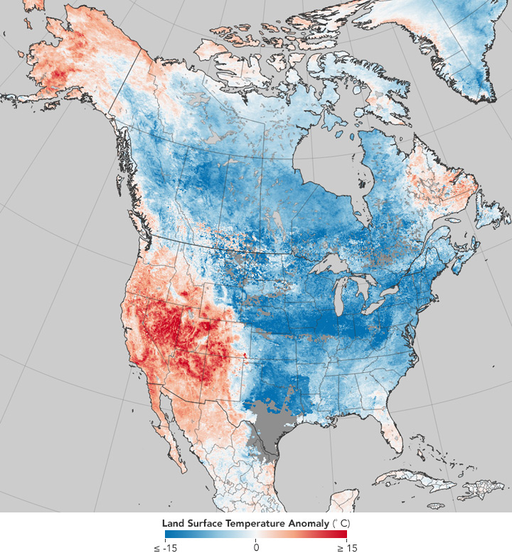 The map shows cold temperatures across the northern and eastern parts of north America, with warmer temperatures in the western United States