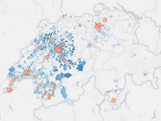 A map shows where there are particularly high numbers of COVID-19 cases in Switzerland. (Visualisation: Covidtracker.ch)