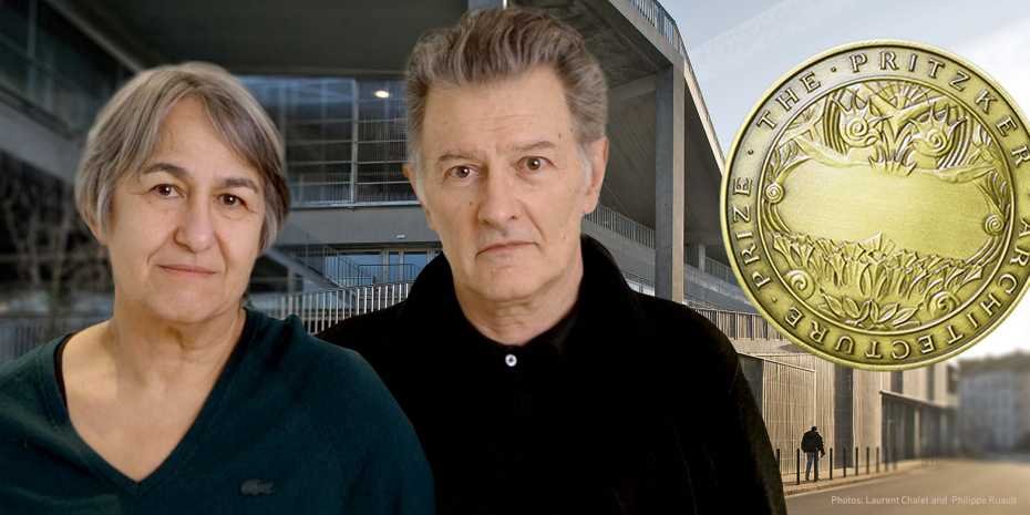 Anne Lacaton and Jean-Philippe Vassal with the Pritzker Price medal